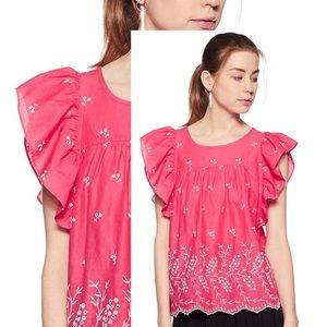 GAP NWOT Eyelet Pink Cotton Top w/Ruffle sleeves